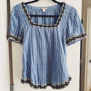 J. Crew flowy shirt with patterned neckline